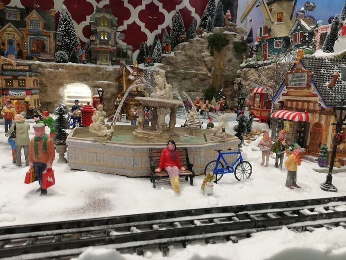 Miniature Chrisytmas Decoration Carousel Snow Winter Cold Temperature City