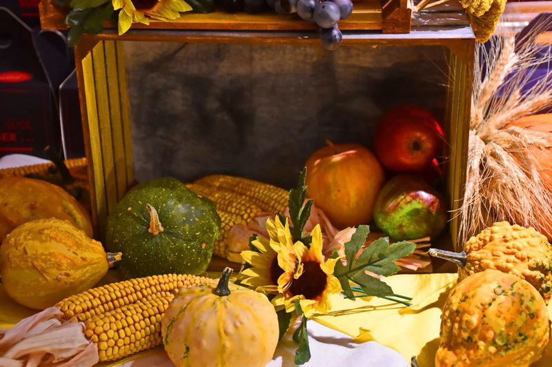 Autumn Autumn colors Choice Corn Decoration Food No People Pumpkin Still Life Variation Wellbeing Autumn Mood