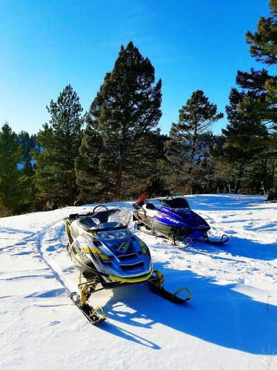 Snowmobiles Montana Sky Clear Sky Day Nature No People Shadow Sunlight Outdoors