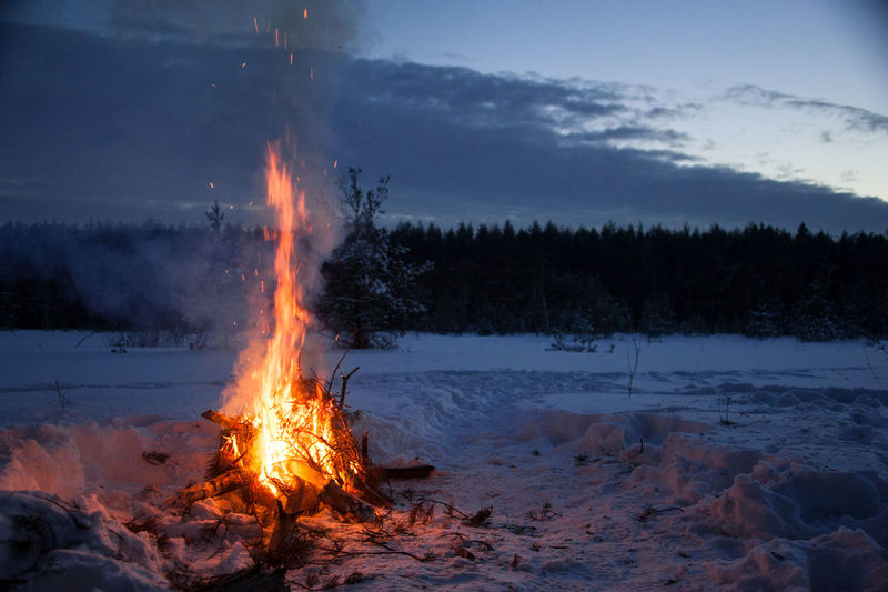 EyeEmNewHere Russia Beauty In Nature Bonfire Burning Cloud - Sky Day Flame Heat - Temperature Landscape Nature No People Outdoors Russianwinter Scenics Sky Snow Tranquil Scene Tranquility Tree Winter