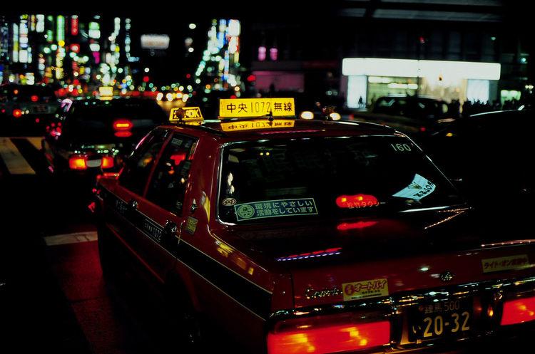Tokyo,Japan Contax G2 Film E100vs Contax G45 Taxi Night Lights