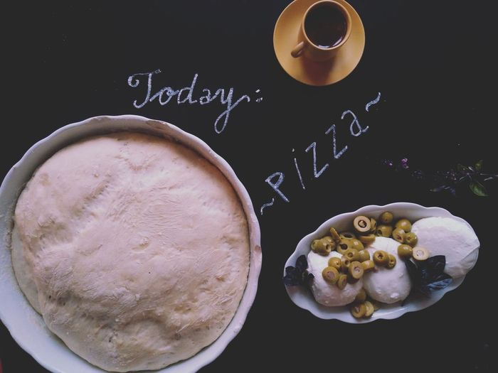 Cup Of Coffee Coffee Piccolo Healthy Eating Food And Drink Chalk Drawing Fresh Flowers Olives Mozzarella Ingredients Preparing Food Freshness Close-up Pizza Time Pizza Dough Bowl Flat Lay Olive Basil