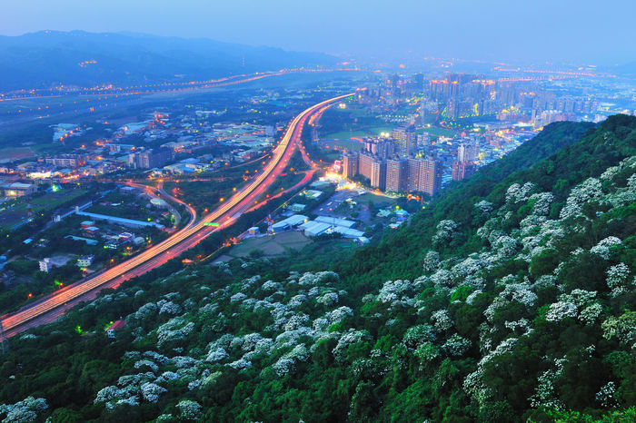 Liberal landscape of the city, fresh and natural. City Beautiful Broad Taiwan's New Taipei City Fugueijiao Lighthouse Aerial View Architecture Building Exterior Business Finance And Industry City Cityscape High Angle View Highway Landscape Mountain Nature Night No People Outdoors Road Scenics Sky Skyscraper Travel Travel Destinations Tung Blossom