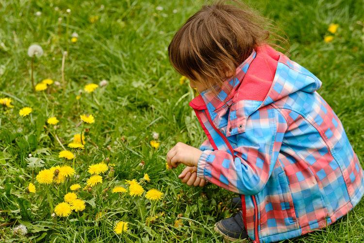 Rear view of girl holding umbrella on grassy field