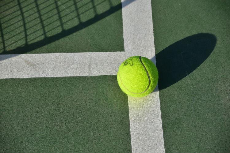 High angle view of green ball on table
