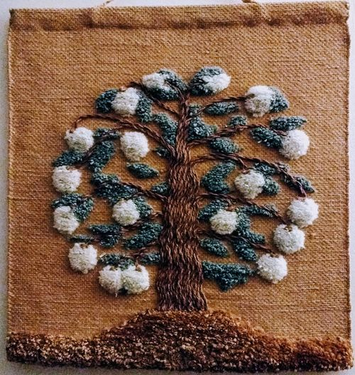 Wall hanging Bought In Hebden Bridge Wool Latch Hook Tree Wall Hanging No People Close-up Indoors  Directly Above Day