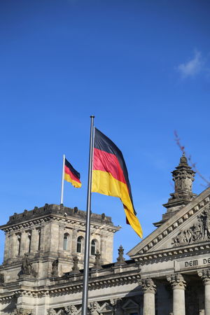 Architecture Black Red Gold Building Exterior Built Structure City Clear Sky Flag Government No People Outdoors Patriotism Politics Politics And Government Reichstag Tourism Travel Travel Destinations