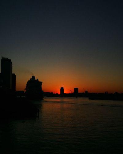 Sky Sunset Water Silhouette Architecture Built Structure Building Exterior City Orange Color