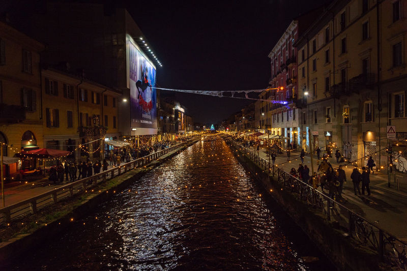 Night Illuminated Built Structure Architecture Building Exterior City Street Water Canal Nature Transportation Building Incidental People Group Of People Diminishing Perspective Lighting Equipment The Way Forward Residential District Direction Dark Nightlife Naviglio Milano