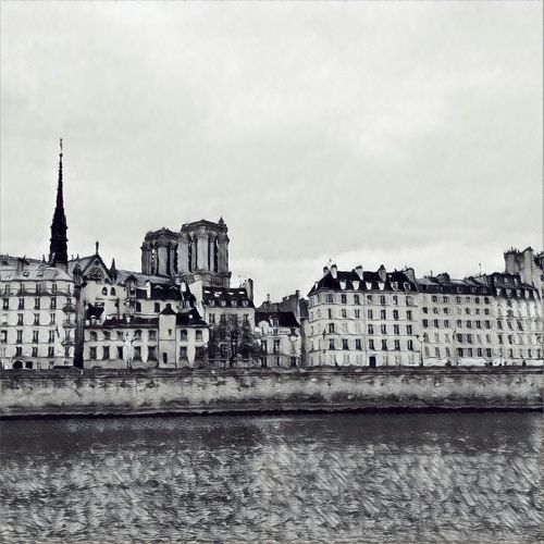 Paris Sienne Black And White Cityscape City Architecture Outdoors Built Structure Building Exterior Water No People Day Sky