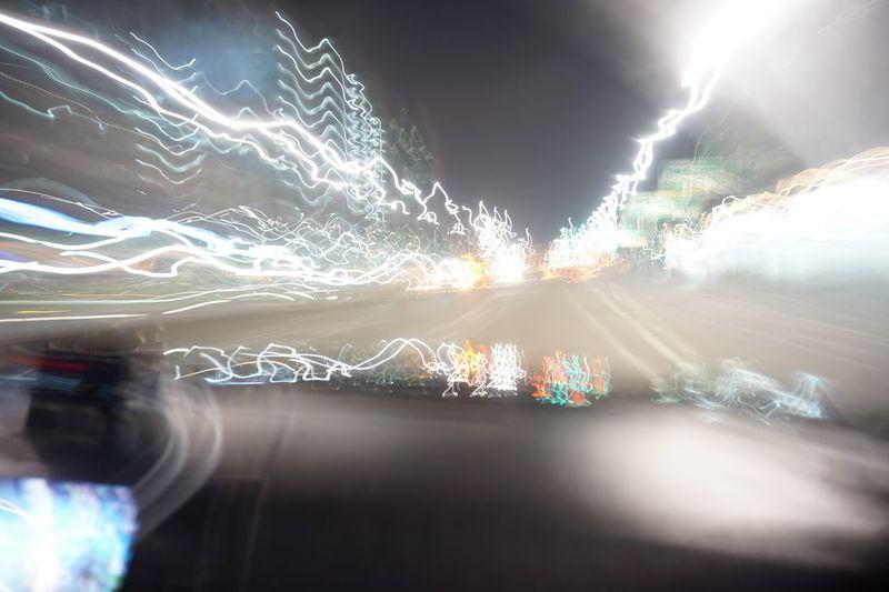 Flash Speeddrive Long Exposure Illuminated Speed Motion Light Trail Night Blurred Motion Lightning Road