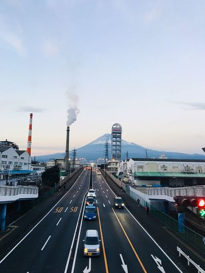 Fujisan Transportation Road Smoke - Physical Structure Architecture Built Structure Road Marking City Day Land Vehicle