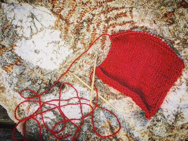 Knitting a swap. Enjoying Life Yarn Knitting Project Concrete