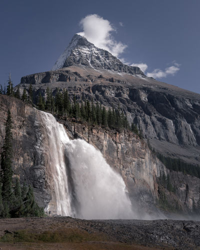 The amazing Emperor Falls. Can you spot the person at the base? The falls sit at 5,300 feet (1,600 m) high and cascade a total distance of 46 m (150 ft). The peak of Mount Robson behind rises to 3,954 m (12,972 ft). Mount Robson Provincial Park, British Columbia, Canada. Love Life, Love Photography Berg Lake Trail British Columbia, Canada Canadian Rockies  Emperor Falls Falling Massive Mt Robson Mt Robson Provincial Park Rock Formation Cascade Cliff Day Motion Mountain Nature No People Outdoors Power In Nature River Rocky Mountains Scenics Sky Steep Water Waterfall
