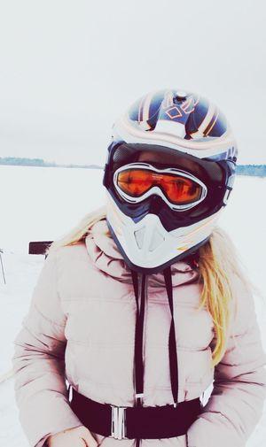Первый раз каталась на снегоходе ?