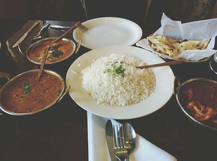 Garlic naan, mango chicken, yellow daa, chicken korma. Indiancuisine