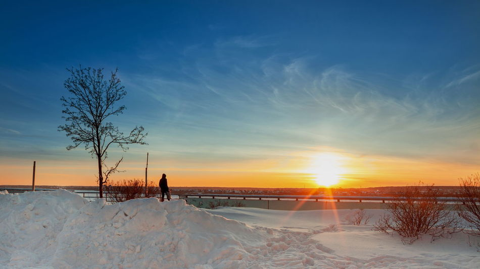 Bare Tree Beauty In Nature Cold Temperature Day Field Landscape Nature One Person Outdoors People Real People Scenics Sky Snow Sun Sunset Tranquil Scene Tranquility Tree Winter
