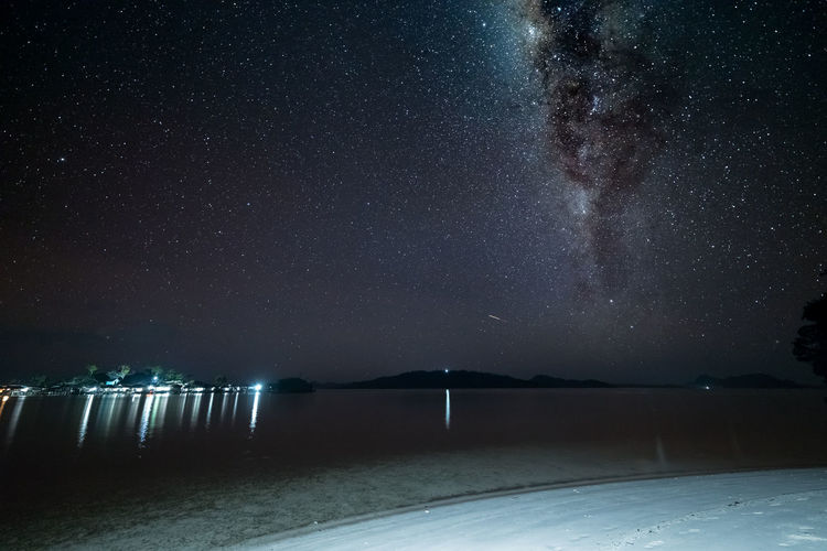 Scenic View Of Star Field Over Lake
