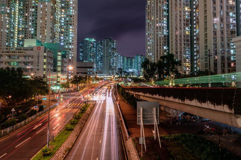 City Cityscape Illuminated Skyscraper Road Motion Long Exposure Light Trail Speed Tree