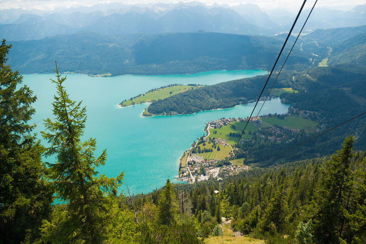Bavaria scenic view of mountains and forest and lake