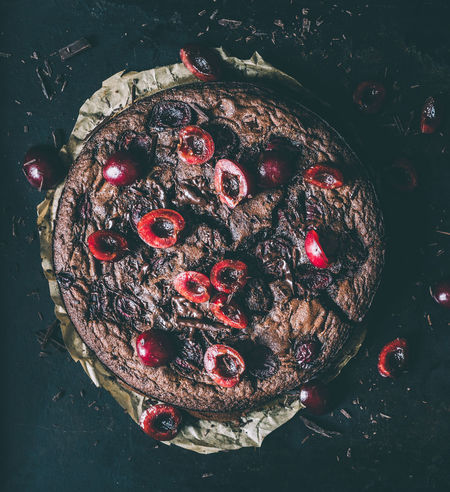 cherry-chocolate-cake glutenfree with free cherries and chocolate on a dark background from above | daylight foodphotography Cherries Chocolate From Above  Homemade Food Baked Black Brown Close-up Daylight Daylight Photography Delicious Directly Above Food Food And Drink Food Photography Foodphotography Fruit Glutenfree High Angle View Indoors  Light And Shadow Moody No People Ready-to-eat Yummy