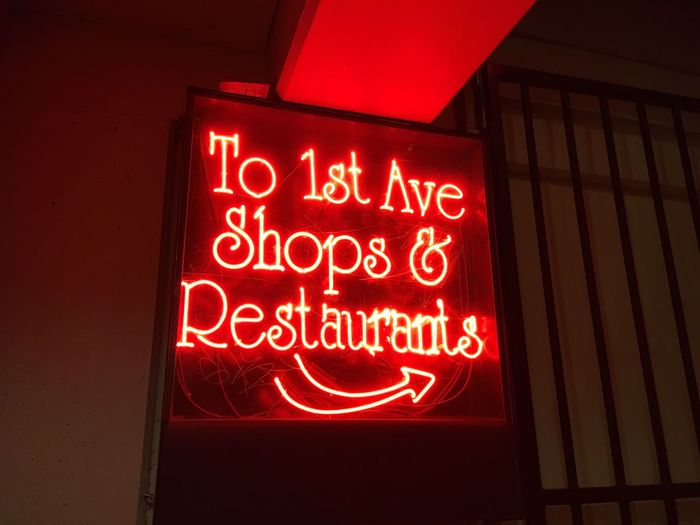 Pike place 1st Ave Neon Lights Text Communication Illuminated Red Night No People Open Sign Low Angle View Neon Close-up Outdoors