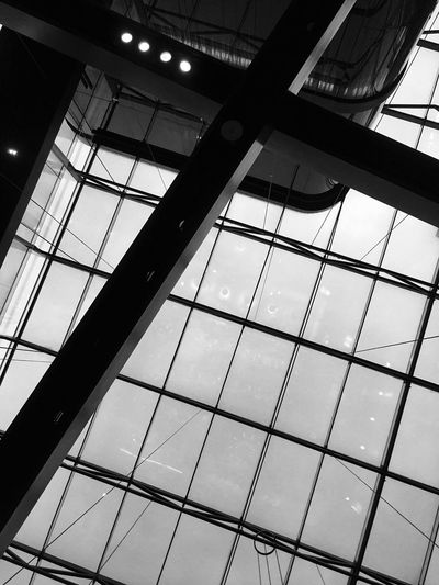 Ceiling Architecture Low Angle View Built Structure Indoors  Skylight Conservatorium Van Amsterdam Interior Design IPhoneography Light And Shadow Netherlands Black & White Black And White Pattern, Texture, Shape And Form Atrium Architecture Indoors  Morning Sky Contemporary Architecture Building Atrium Architectural Design Day Architecture And Art