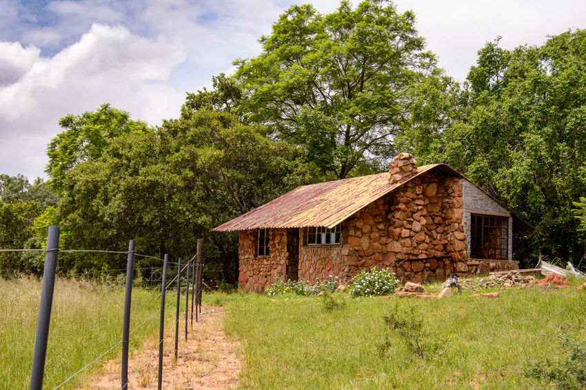 Beauty In Nature Building Exterior Built Structure Cabin Cabin In The Woods Fence Nature Neglected No People Oppieberg Outdoors Potential  Rural RustenBurg Secluded  South Africa Stone Material Tree Wood Minimalist Architecture Breathing Space Love Yourself