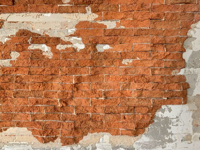 Wall - Building Feature Wall Brick Wall Brick Built Structure Architecture Textured  Weathered Backgrounds Old Full Frame Run-down No People Pattern Damaged Decline Deterioration Day Rough Building Exterior Outdoors Dirty Plaster Cement Ruined