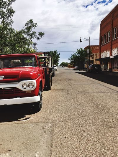 Car Transportation Land Vehicle Mode Of Transport Sky Day Road Architecture Cloud - Sky Red No People Outdoors Tree Nature Small Town Small Town USA Arizona Arid Climate Route 66 Red Color Vintage Cars EyeEmNewHere