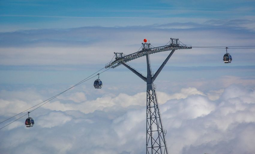Low Angle View Of Overhead Cable Car Against Cloudy Sky