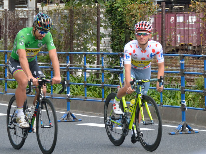 Bicycle Criterium Cycling Maillot Blanc à Pois Rouges Maillot Vert Racing Bicycle SaitamaCriterium Sport さいたまクリテリウム