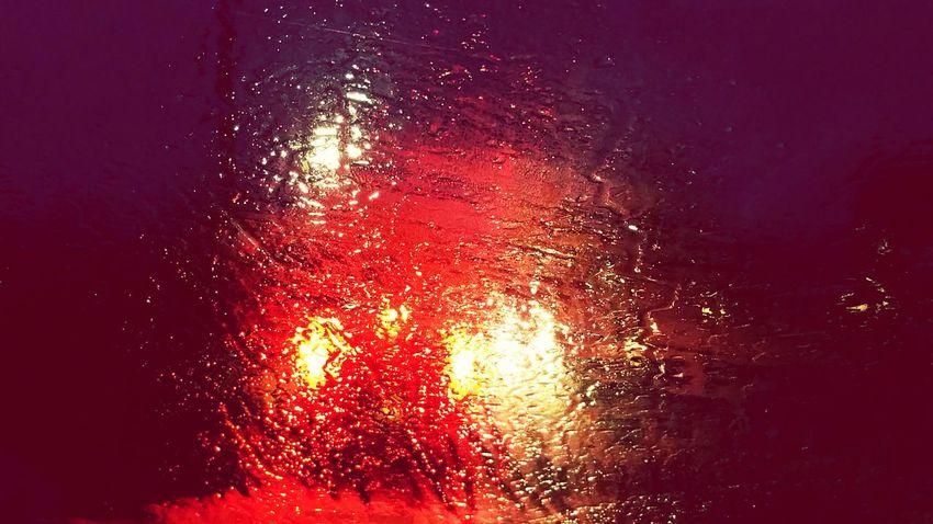 Red Brakes Brake Lights Glare Flare Lights Night Lights Shine Bright Rain Raining Windscreen Windshield