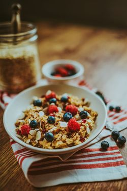 Oatmeal Raspberry Breakfast Vegan Food Food And Drink Fruit Blueberry Dessert Sweet Food Healthy Eating No People Freshness Day