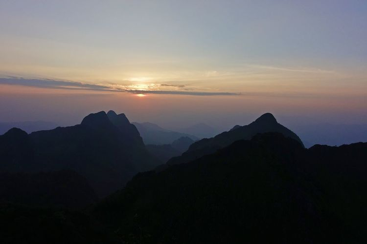 sunset from chiangdao mountain peak, Thailand Outdoor Scenics - Nature Sky Sunset Landscape Peak Mountain Range Nature Background Beaty Of Nature Chiangdao Mountain Thailand Idyllic Scenery