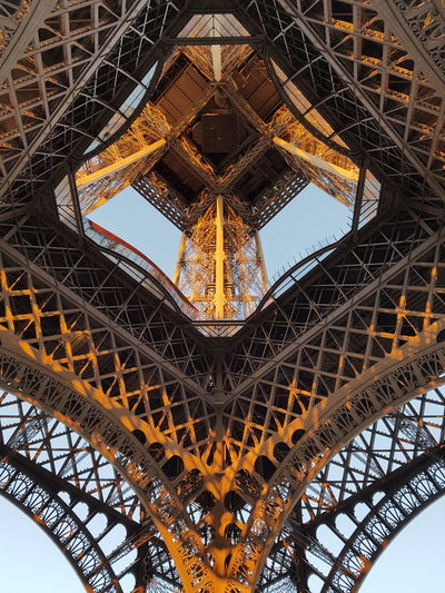 Directly Below Shot Of Eiffel Tower