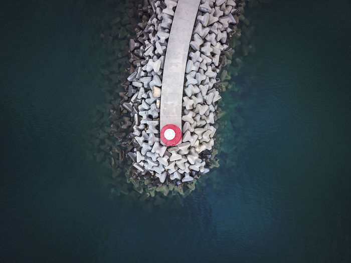 High angle view of groyne in sea