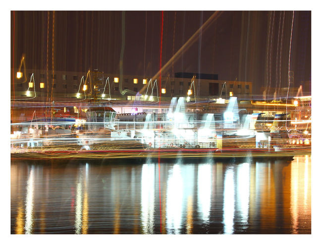 Fine Art Photography Kiel At Night Kiel Nachts Kieler Hafen Marija Behrendt Painting With Light Architecture Building Exterior Harbor Illuminated Industry Kiel Kieler Förde Light Collage Nautical Vessel Night No People Reflection Shipping  Shipyard Transportation Water Waterfront