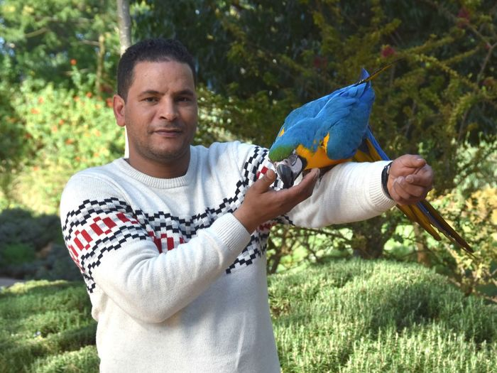 Portrait of man with macaw on shoulder standing against trees