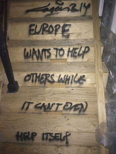 Europe Wants To Help Others While It Can't Even Help Itself Street Art Laser 3.14 Urban Art Graffiti