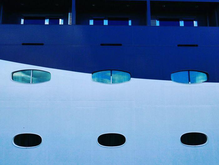 Full frame shot of blue ship