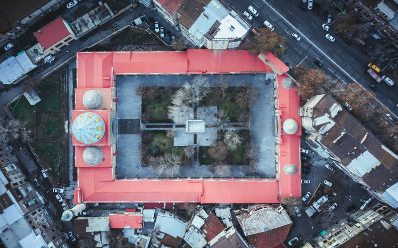 High angle view of old abandoned building