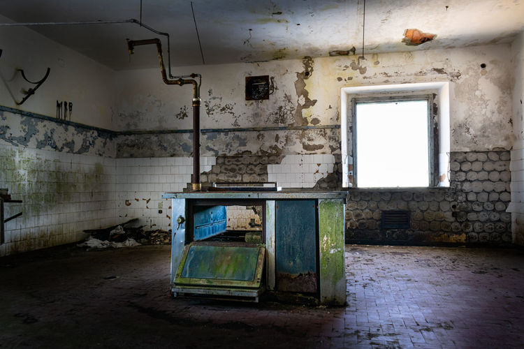 Interior of abandoned building. looted kitchen