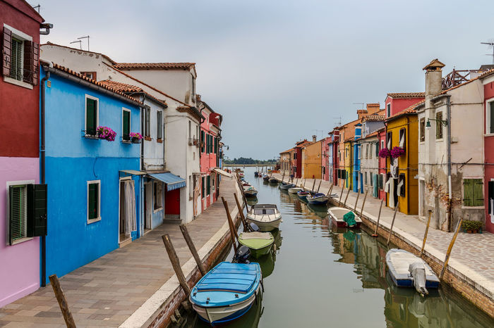 Architecture Building Exterior Built Structure Burano Colour Coloured Houses Day Gondola - Traditional Boat Italy Moored Nautical Vessel No People Outdoors Residential Building Sky Transportation Venice Water