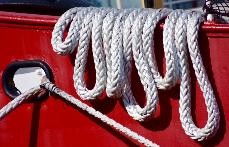 White ropes on boat