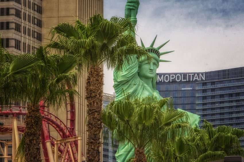 Documenting Life Las Vegas Las Vegas Blvd New York New York Casino Palm Tree Rollercoaster Statue Of Liberty Travel Photography Architecture Building Exterior City Cosmopolitan Las Vegas Day Green Color Hotel No People Outdoors Palm Tree Sky Statue Tree