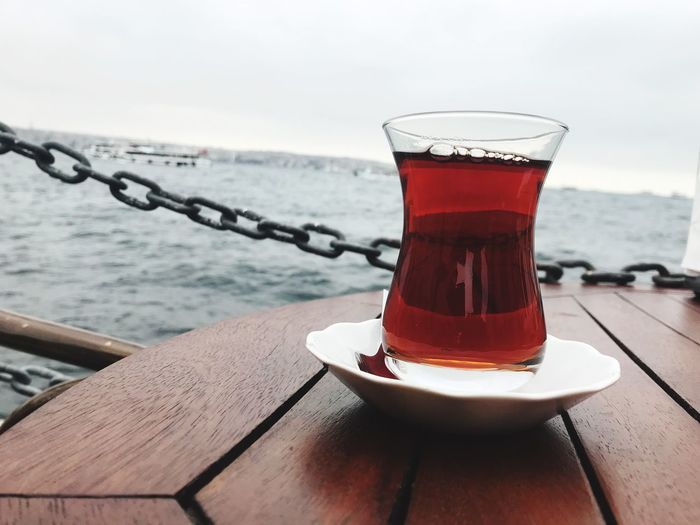 Turkish Tea Tea Food And Drink Water Drink No People Close-up Refreshment Sea Table Glass Nature Day Outdoors Drinking Glass