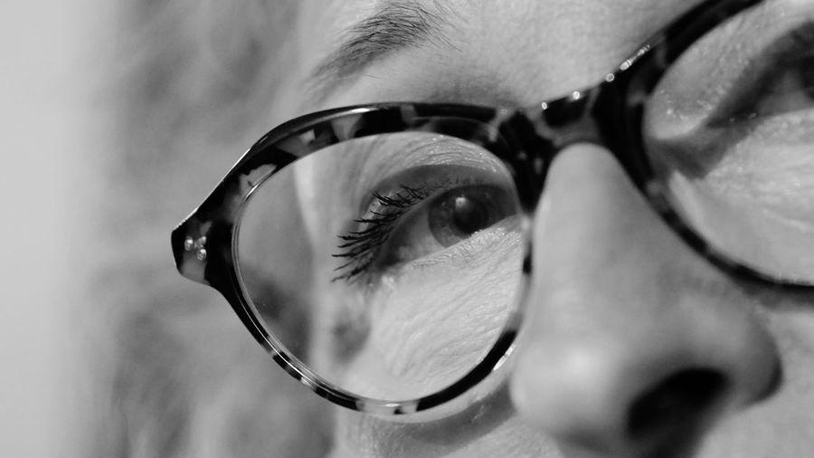 Black & White Close-up Human Body Part One Person Body Part Eyesight Human Eye Eyelash Sensory Perception Human Face Eye Women Real People Portrait Reflection Glasses Adult Eyeball Lifestyles Iris - Eye