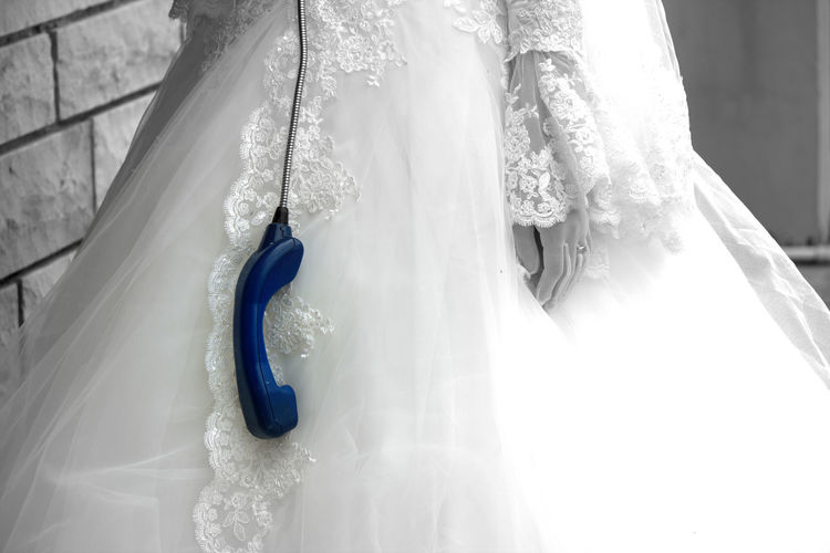 Abandoned Abandoned People Blue Bride Close-up People Telephone Booth Wedding Dress White Color Give Up