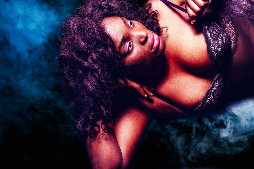 Portrait of a black curvy super model in lingerie Figure Oversized Thigh Adiposity African Ethnicity Beautiful People Beautiful Woman Beauty Bra Cellulite Curly Hair Curvy Fashion Glamour Indoors  Lingerie Looking At Camera Obese One Person Overweight Portrait Real People Underwears Women Young Adult